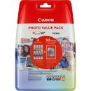 Original Druckerpatronen Canon CLI-521 BK/C/M/Y Multipack + Fotopapier - 2933B010