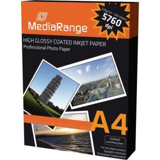 100 Blatt Fotopapier DIN A4 220g hoch glänzend glossy Photopaper MediaRange