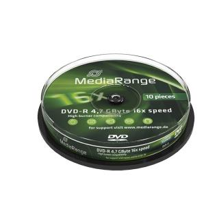 10 DVD-R 16x, 4,7 GB Rohlinge Mediarange MR452 Spindel Cakebox Datenträger DVD