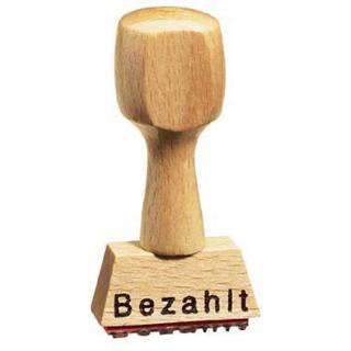 """Holz-Textstempel """"Bezahlt"""""""
