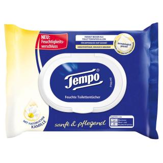 Tempo Feuchtes Toilettenpapier 42 Blatt Nachfüllpack sanft & pflegend 1-lagig