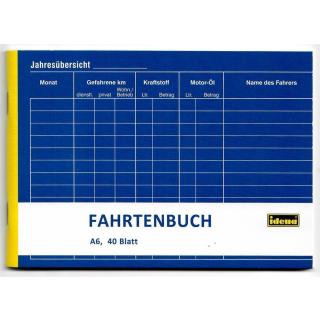 Idena Fahrtenbuch DIN A6 quer, 40 Blatt