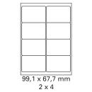 500 Bogen Etiketten 99,1 x 67,7 mm auf DIN A4 weiß