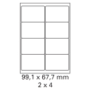 1000 Bogen Etiketten 99,1 x 67,7 mm auf DIN A4 weiß