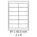 2000 Bogen Etiketten 97 x 42,3 mm weiß