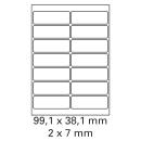 100 Bogen Etiketten 99,1 x 38,1 mm auf DIN A4 weiß