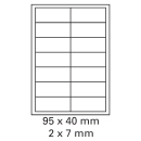 500 Bogen Etiketten 95 x 40 mm auf DIN A4 weiß