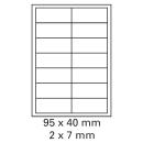 1000 Bogen Etiketten 95 x 40 mm auf DIN A4 weiß