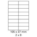 100 Bogen Etiketten 105 x 37 mm auf DIN A4 weiß