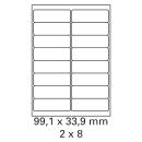 200 Bogen Etiketten 99,1 x 33,9 mm auf DIN A4 weiß