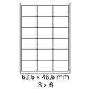 200 Bogen Etiketten 63,5 x 46,6 mm auf DIN A4 weiß