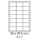 100 Bogen Etiketten 63 x 39,5 mm auf DIN A4 weiß
