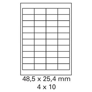 200 Bogen Etiketten 48,5 x 25,4 mm auf DIN A4 weiß