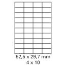 100 Bogen Etiketten 52,4 x 29,7 mm auf DIN A4 weiß