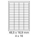 500 Bogen Etiketten 48,5 x 16,9 mm auf DIN A4 weiß