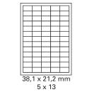 100 Bogen Etiketten 38,1 x 21,2 mm auf DIN A4 weiß