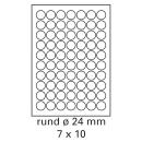 200 Bogen Etiketten rund Ø 24 mm auf DIN A4...