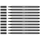10 Fasermaler Stabilo Pen 68 schwarz 1,0 mm