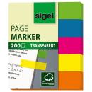 5x 40 Streifen SIGEL Haftmarker transparent farbsortiert