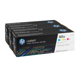 3 Original Toner HP 305A (CF370AM) cyan, magenta, gelb Color Set